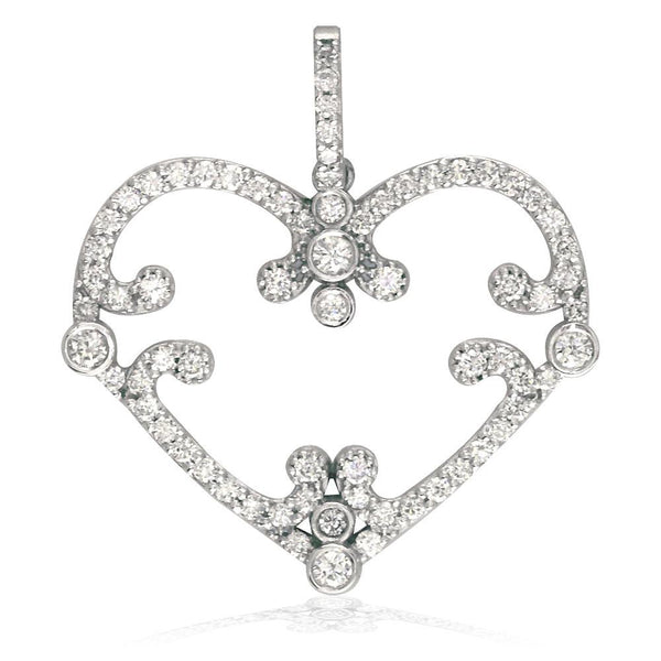Vintage Style Open Diamond Heart Pendant, 1.08CT in 18K white gold