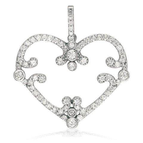 Vintage Style Open Diamond Heart Pendant, 1.08CT in 14K White Gold