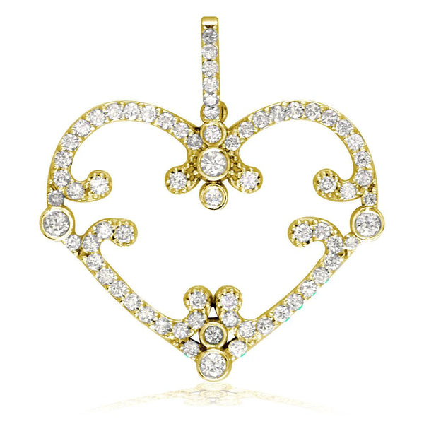 Vintage Style Open Diamond Heart Pendant, 1.08CT in 18K yellow gold