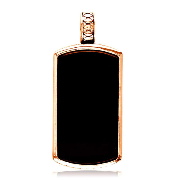 Reversible Black Onyx and Python Reptile Texture Dog Tag Pendant in 14K Pink, Rose Gold