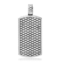 Reversible Black Onyx and Python Reptile Texture Dog Tag Pendant in 18K White gold