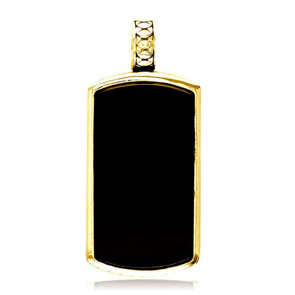 Reversible Black Onyx and Python Reptile Texture Dog Tag Pendant in 18K Yellow gold