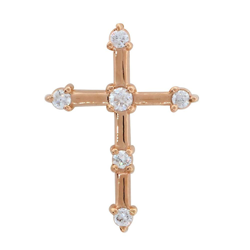 Diamond Cross with Gold Bars, 0.15CT in 14K Pink, Rose Gold