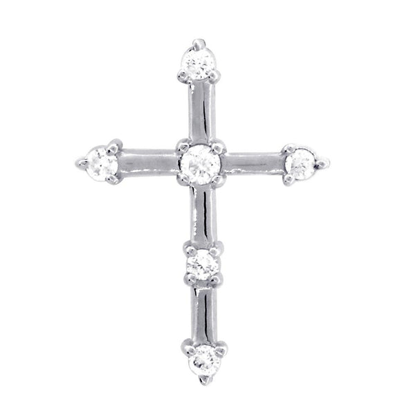 Diamond Cross with Gold Bars, 0.15CT in 18K White gold
