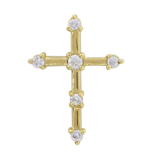 Diamond Cross with Gold Bars, 0.15CT in 14K Yellow Gold