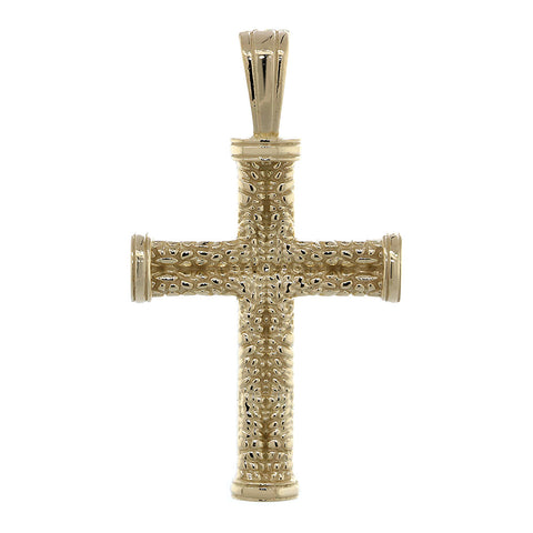 Solid Exotic Texture Cross Pendant in 14k Yellow Gold