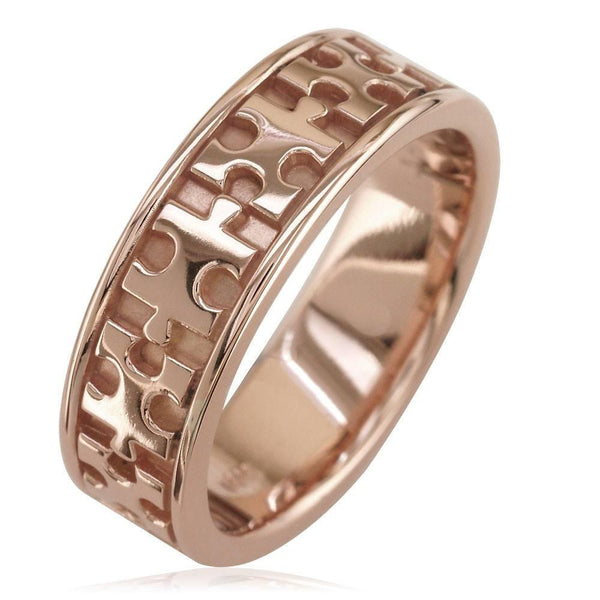 Autism Awareness Jigsaw Puzzle Piece Ring Band in 14k Pink, Rose Gold, Ring Sizes 9 to 13.5
