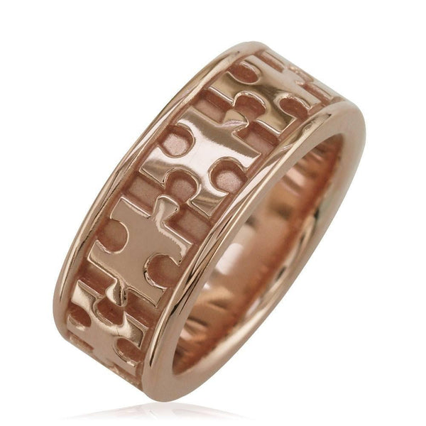 Autism Awareness Jigsaw Puzzle Piece Ring Band in 14k Pink, Rose Gold, Ring Sizes 3.5 to 8.5