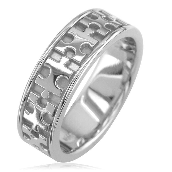 Autism Awareness Jigsaw Puzzle Piece Ring Band in 14k White Gold, Ring Sizes 9 to 13.5