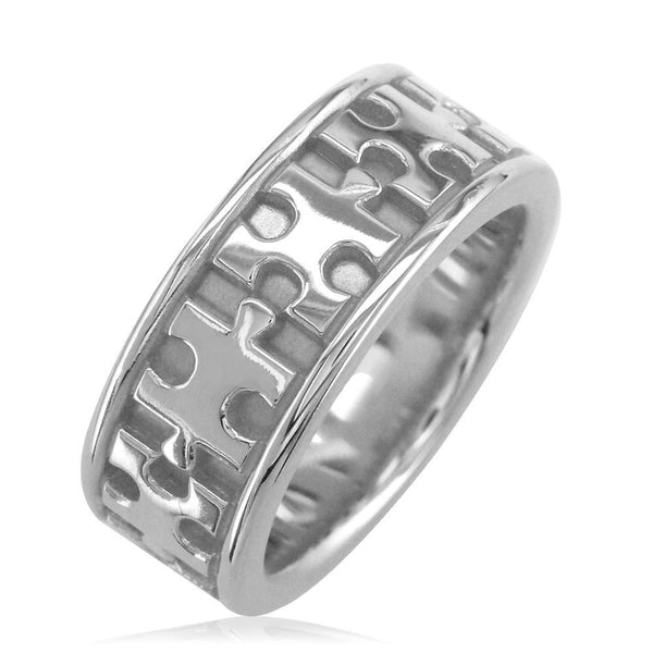 Autism Awareness Jigsaw Puzzle Piece Ring Band in 14k White Gold, Ring Sizes 3.5 to 8.5