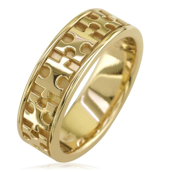 Autism Awareness Jigsaw Puzzle Piece Ring Band in 14k Yellow Gold, Ring Sizes 9 to 13.5