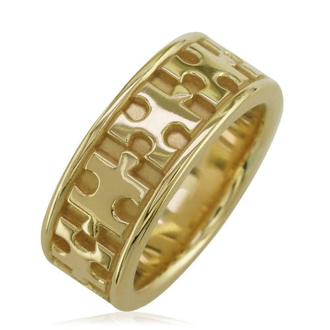Autism Awareness Jigsaw Puzzle Piece Ring Band in 14k Yellow Gold, Ring Sizes 3.5 to 8.5