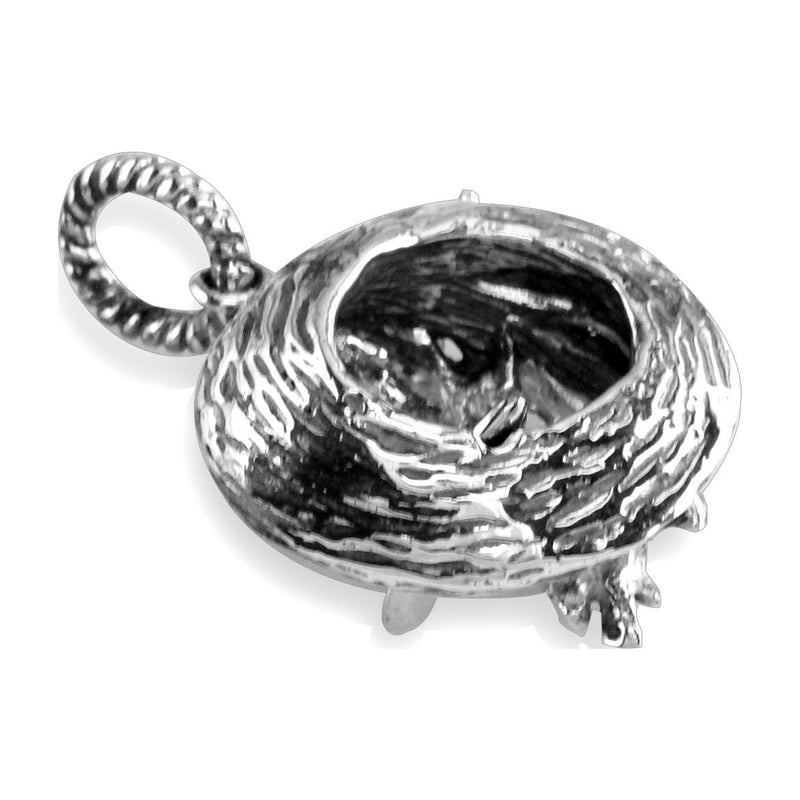 3D Surfer and Wave Charm in Sterling Silver