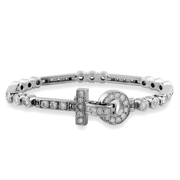 Diamond Bezel Link Bracelet with Diamond Lock