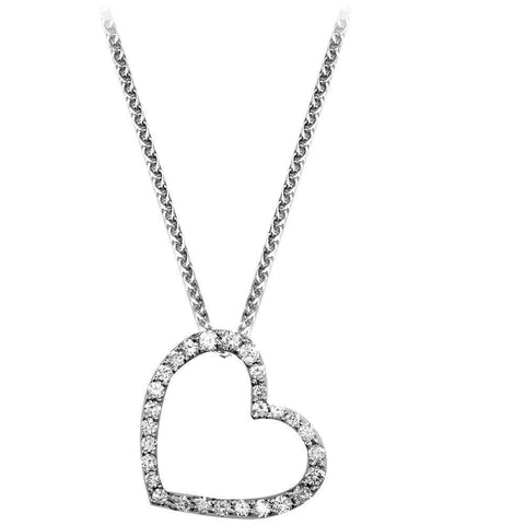Leaning Diamond Heart Pendant and Chain - Tapering Version