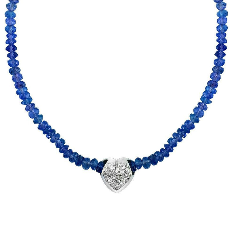 Diamond Heart Pendant On Tanzanite Necklace