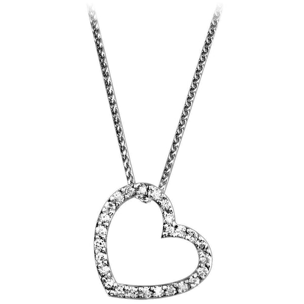 Leaning Diamond Heart Pendant and Chain in 14K