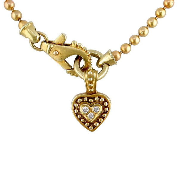 Diamond Heart and Bead Necklace P-Z1121