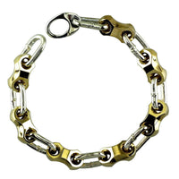 Mens Nut and Cable Links Bracelet in Bronze and Sterling Silver, 9 Inches