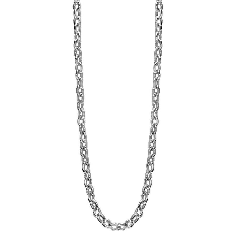 Handmade Open Oval Link Chain, 22 Inches in 14K White Gold