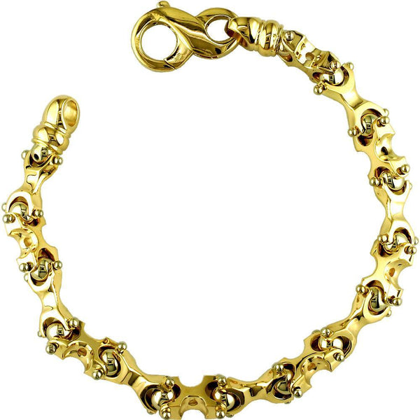 Solid X and Ball Links Bracelet, 8""