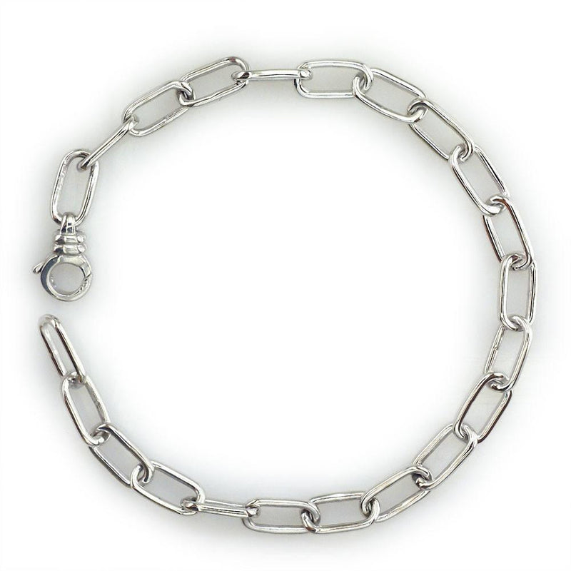 "Thin Oval Link Bracelet 7"" Long in 14K"