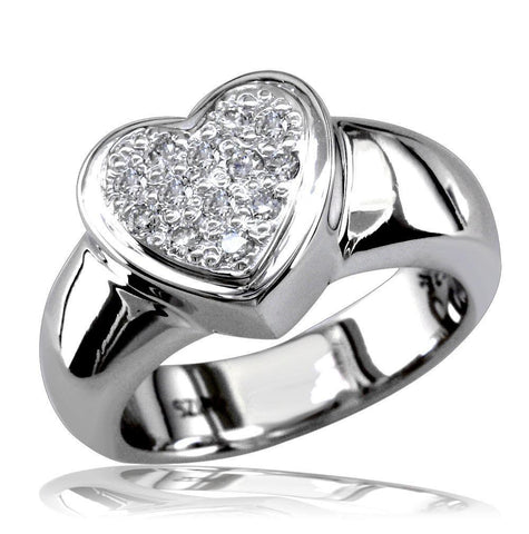 Cubic Zirconia Heart Ring in Sterling Silver