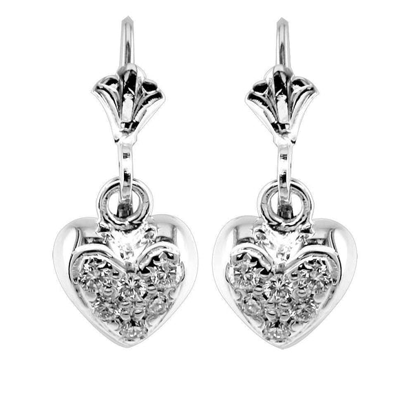 Dangling Mini Diamond Heart Earrings, 0.15CT in 14k White Gold