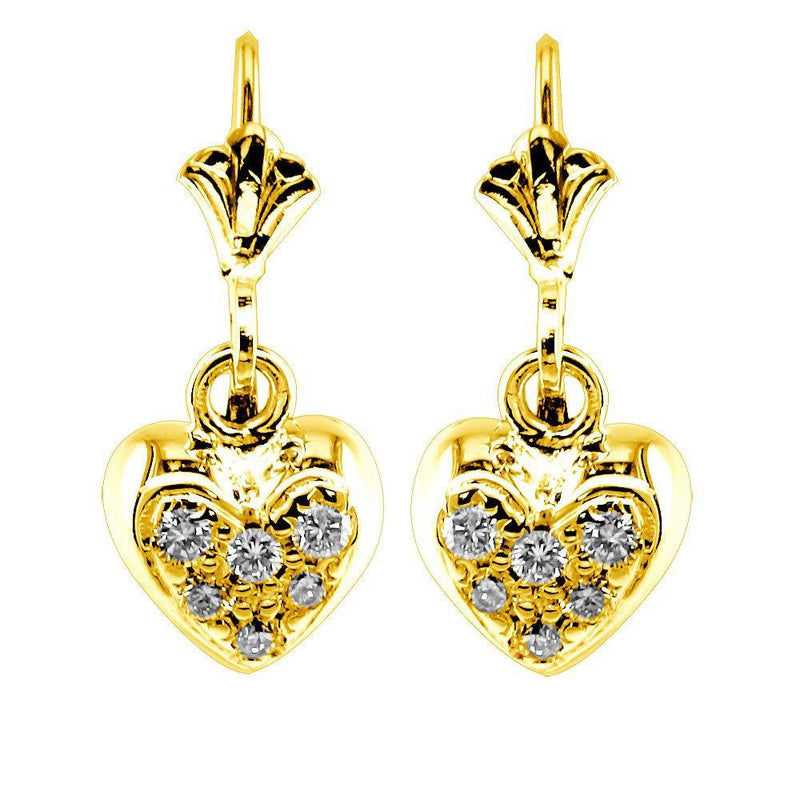 Dangling Mini Diamond Heart Earrings, 0.15CT in 18k Yellow Gold