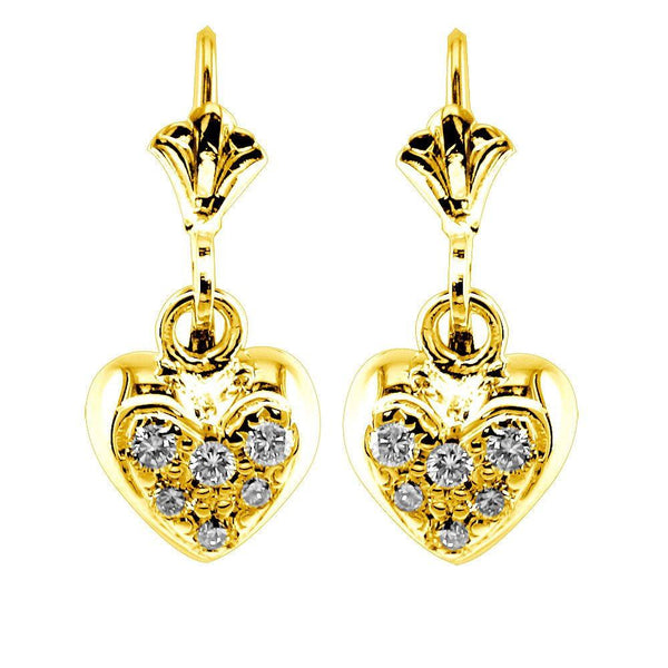 Dangling Mini Diamond Heart Earrings, 0.15CT in 14k Yellow Gold