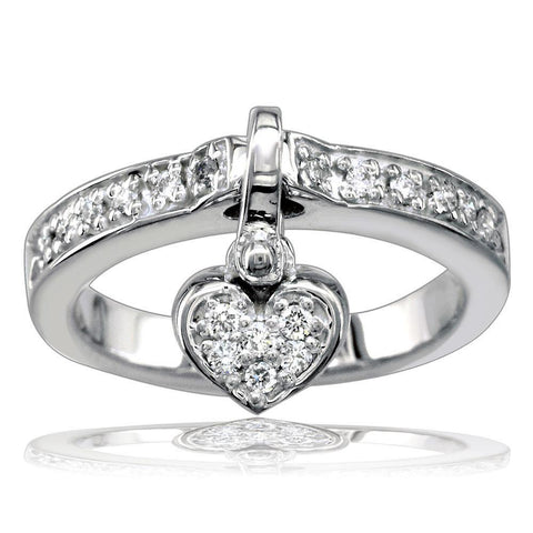 Dangling Heart Charm Diamond Ring in 18K White Gold, 0.25CT