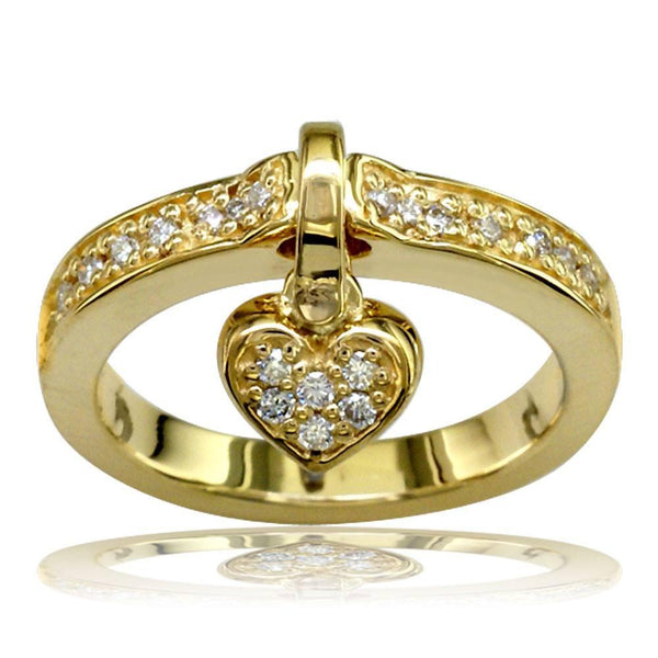 Dangling Heart Charm Diamond Ring in 18K Yellow Gold, 0.25CT