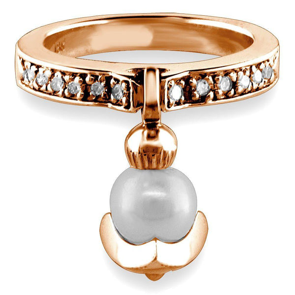 Dangling Pearl Charm Ring with Diamonds, 6.5mm Pearl, 0.15CT in 14K Pink Gold