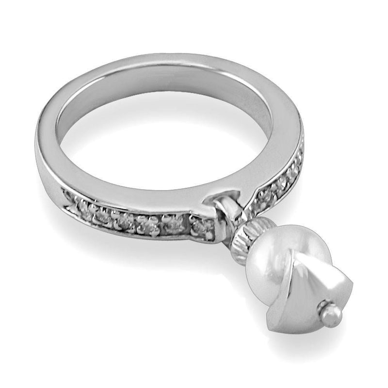 Dangling Pearl Charm Ring with Cubic Zirconia, 6.5mm Pearl in Sterling Silver