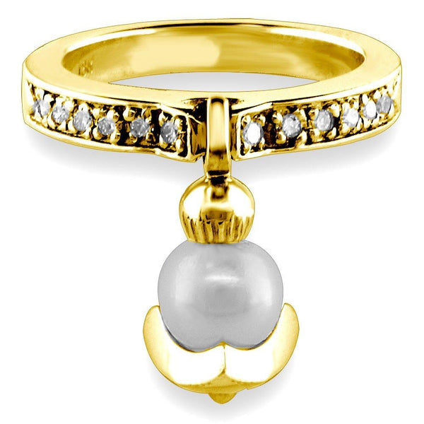 Dangling Pearl Charm Ring with Diamonds, 6.5mm Pearl, 0.15CT in 14K Yellow Gold