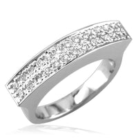 Wide Rectangular Top Ring with 2 Diamond Rows in 14K White Gold