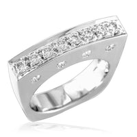 Rectangular Shape Diamond Ring in 14K White Gold, 0.75CT