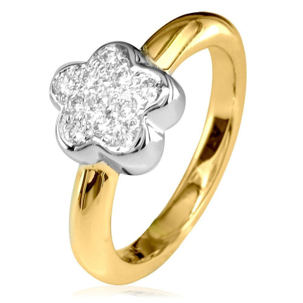 Diamond Flower Ring in 14K White and Yellow Gold