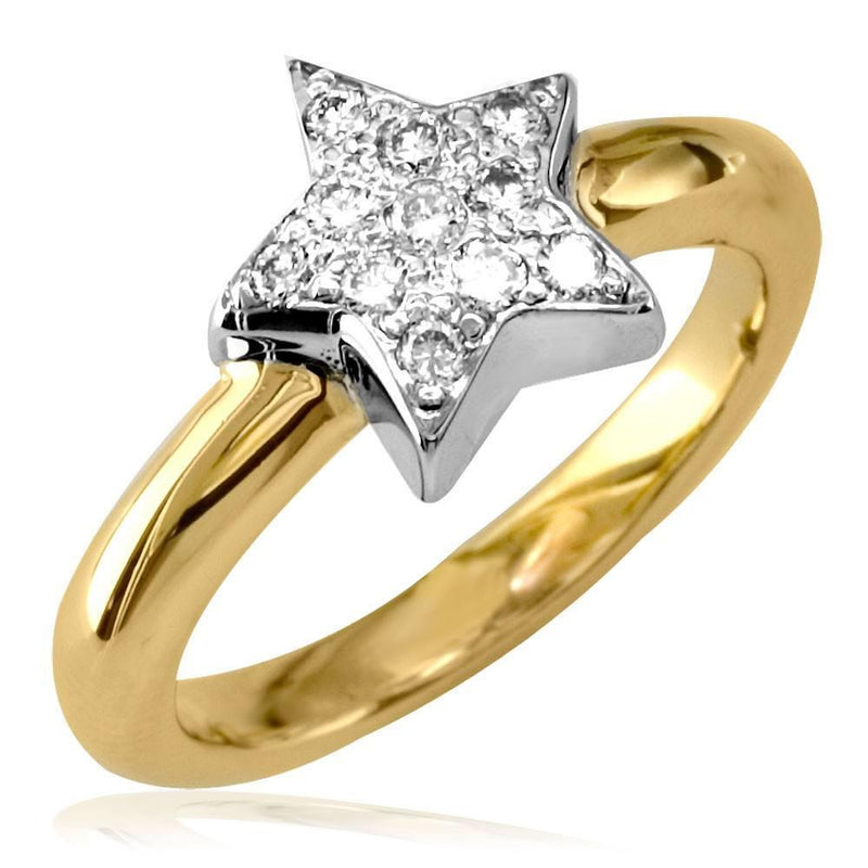 Diamond Star Ring in 14K White and Yellow Gold