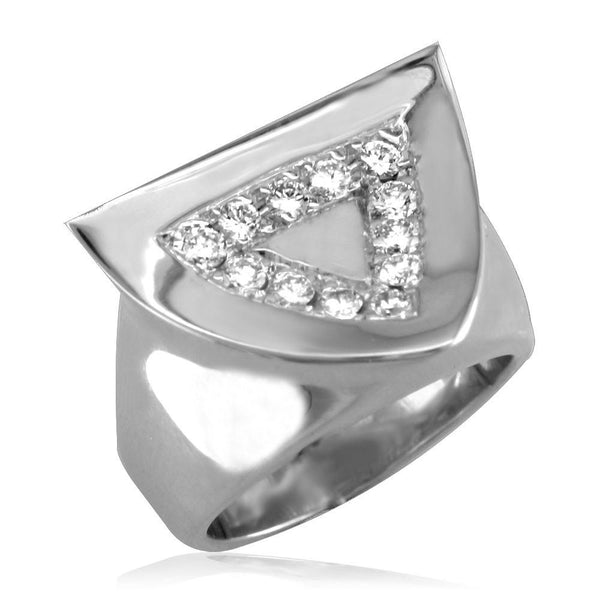 Concave Diamond Triangle Ring in 18K