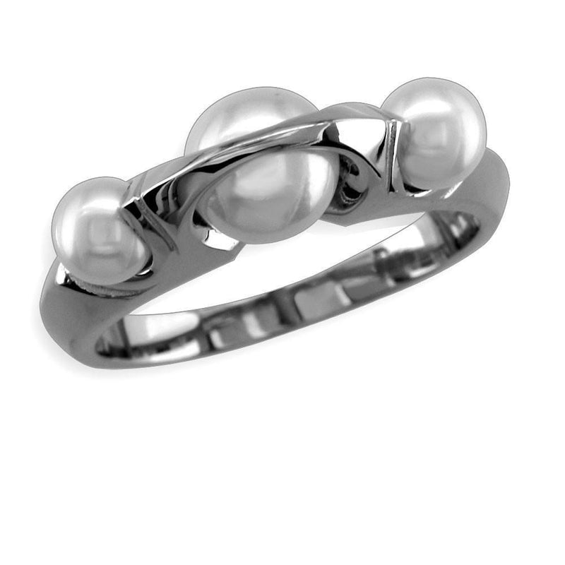 Contemporary Pearl Ring in 14K