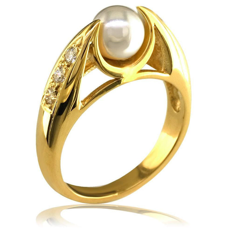 Ladies Pearl and Diamond Ring in 14K, 0.18CT