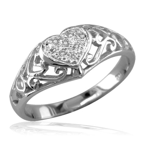 Delicate Vintage Style Diamond Heart Ring, 0.10CT in 18k White Gold