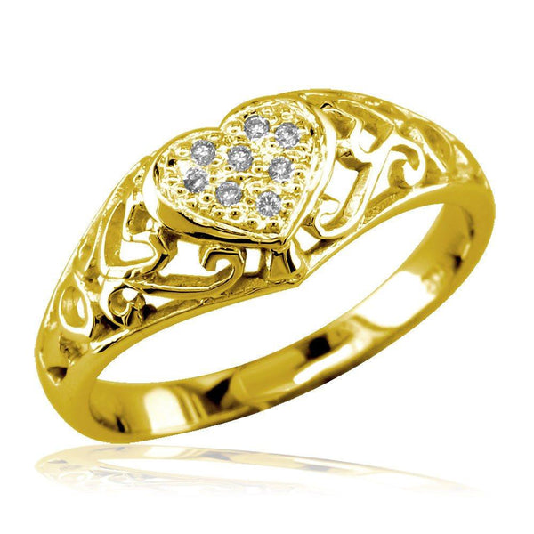 Delicate Vintage Style Diamond Heart Ring, 0.10CT in 18k Yellow Gold
