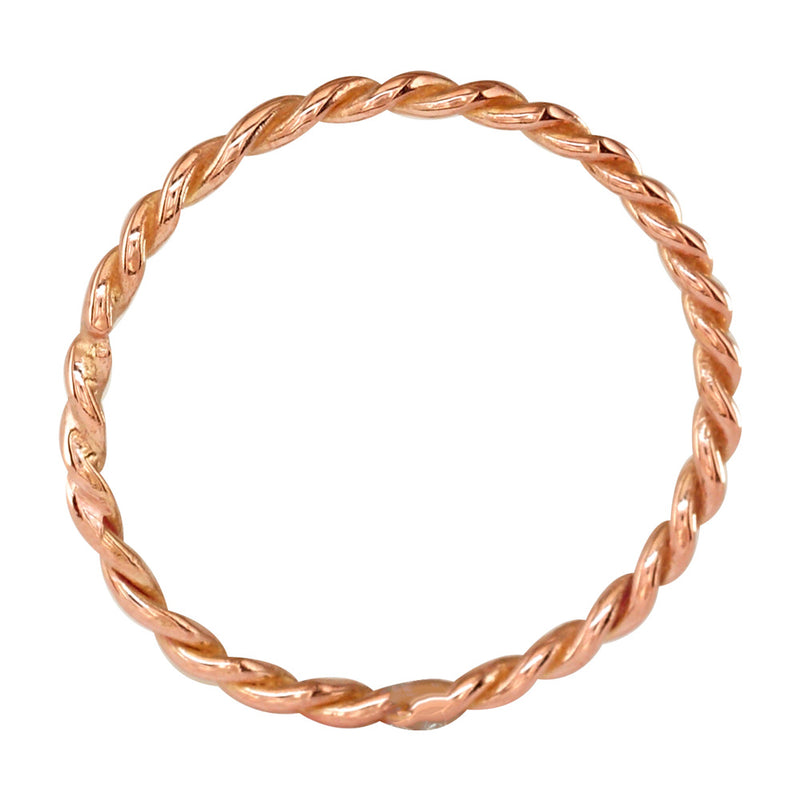 Thin Rope Ring in 14K Pink Gold