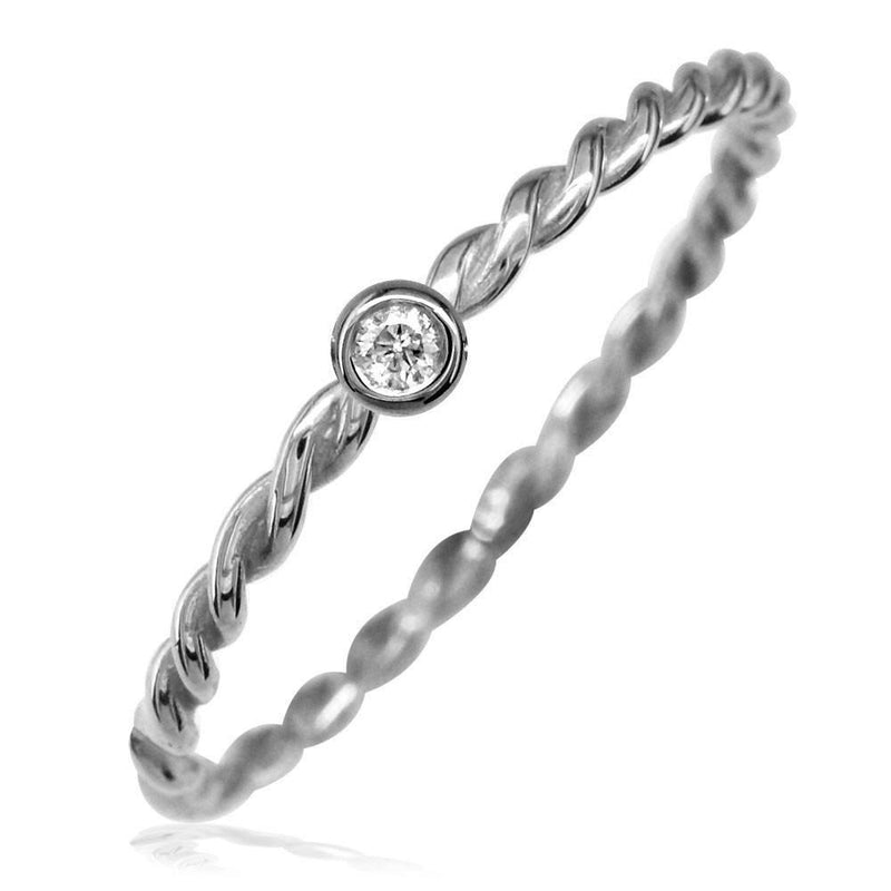 Thin Diamond Rope Ring in 14K White Gold