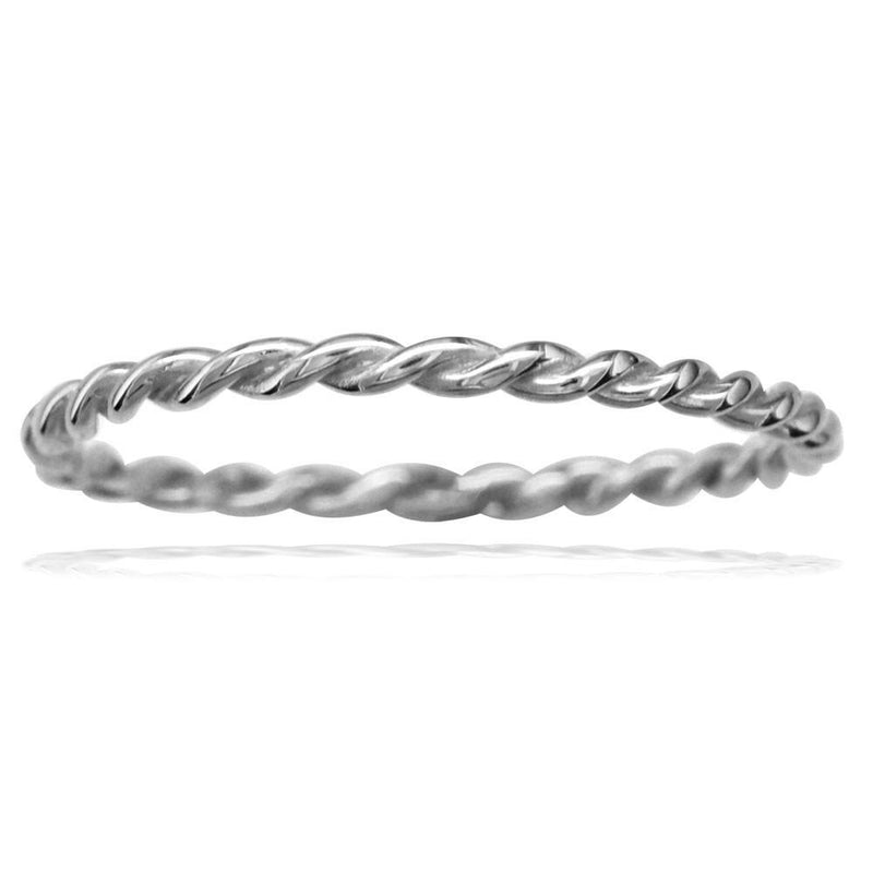 Thin Rope Ring in 14K White Gold