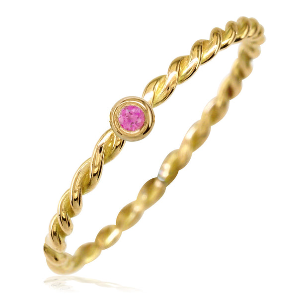 Thin Pink Sapphire Rope Ring in 14K Yellow Gold