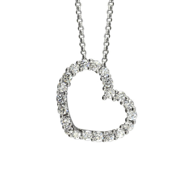 Small Open Diamond Heart Pendant and Chain in 14K White Gold