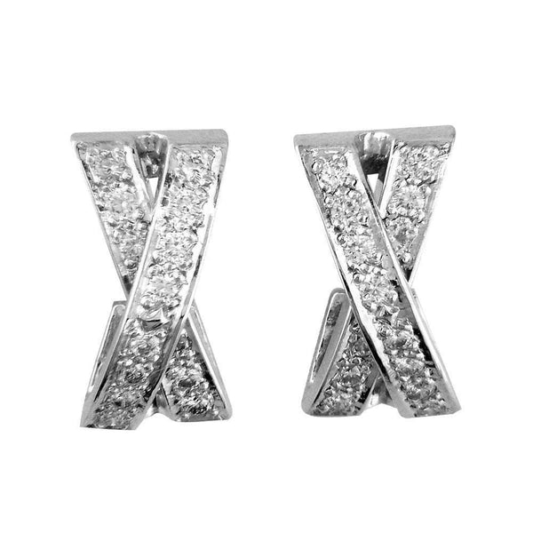 Diamond X Earrings, 0.56CT in 14k White Gold